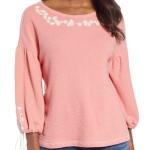 Caslon Embroidered Billow Sleeve Pink Top